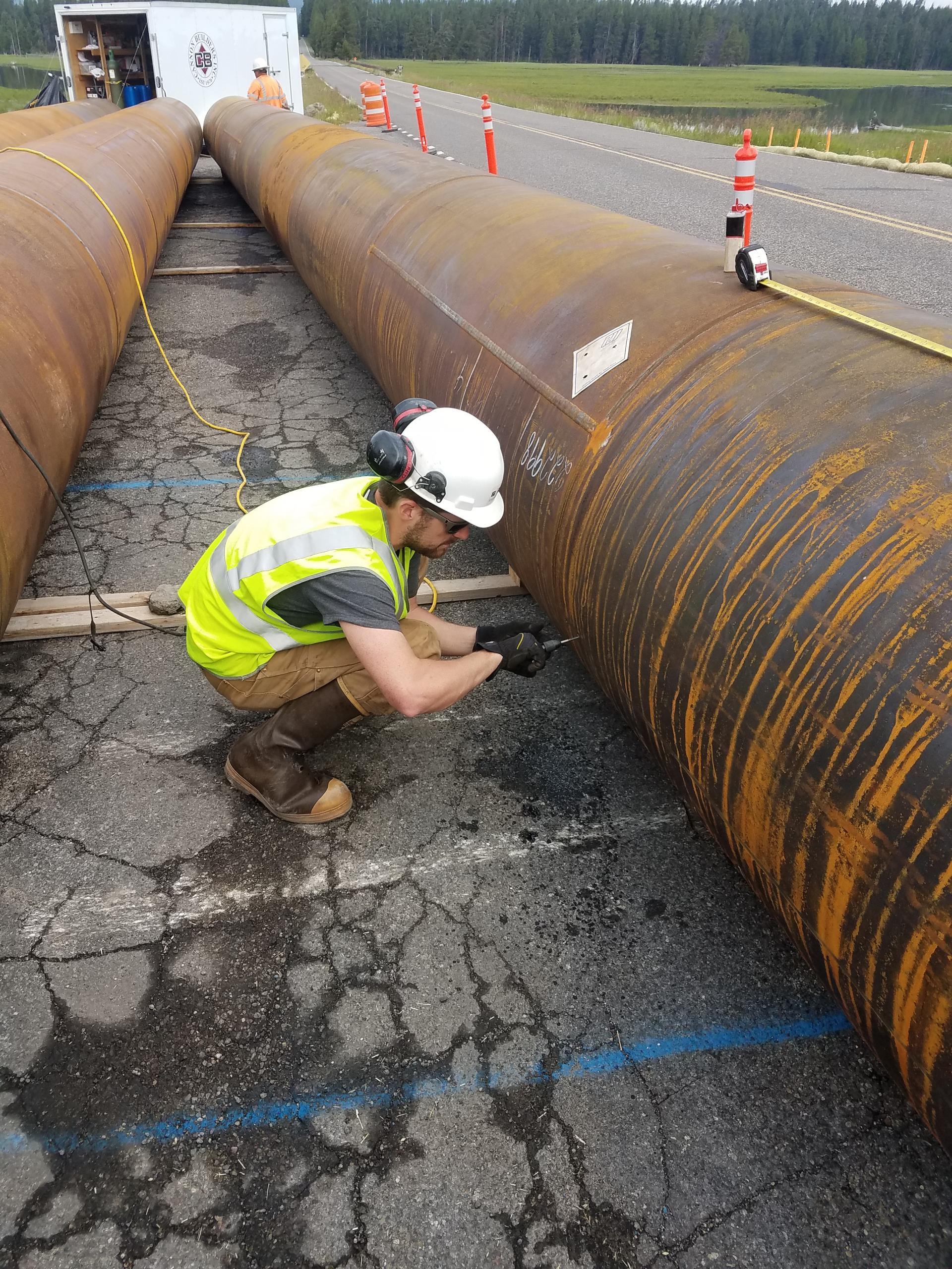 FHWA Pelican Creek Pile Load Test Underway